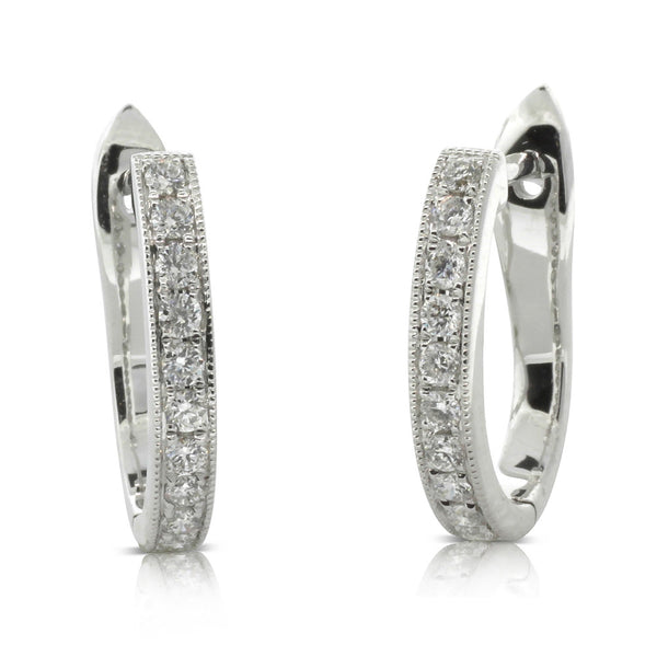 18ct White Gold Bead Set Diamond Hoops - Walker & Hall