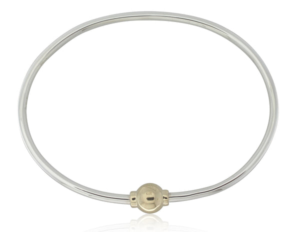 9ct Yellow Gold And Sterling Silver Orbit Bangle - Walker & Hall