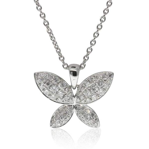 18ct White Gold Diamond Butterfly Pendant - Walker & Hall