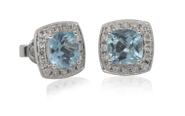 18ct White Gold Aquamarine And .58ct Diamond Earrings - Walker & Hall