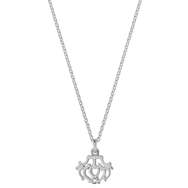 Meadowlark Peony Charm Necklace - Sterling Silver - Walker & Hall