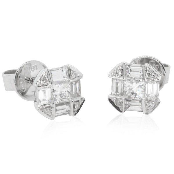 18ct White Gold 1.02ct Diamond Cluster Earrings - Walker & Hall