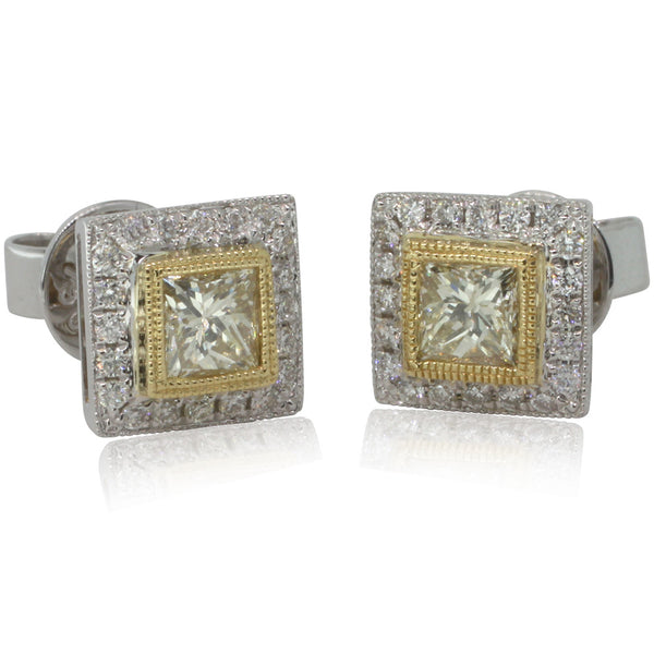 18ct Yellow And 18ct White Gold Yellow Diamond Earrings - Walker & Hall