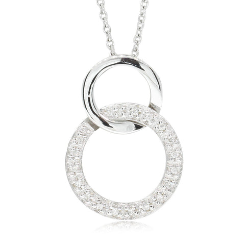 9ct White Gold Diamond Affinity Circle Pendant - Walker & Hall