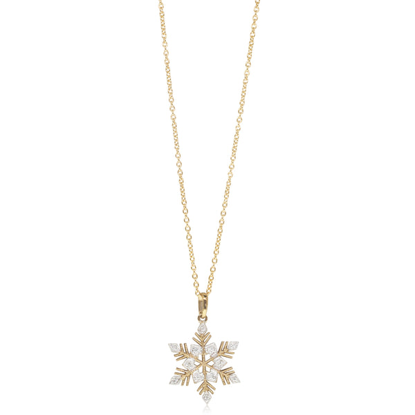 9ct Yellow Gold Diamond Little Snowflake Pendant - Walker & Hall