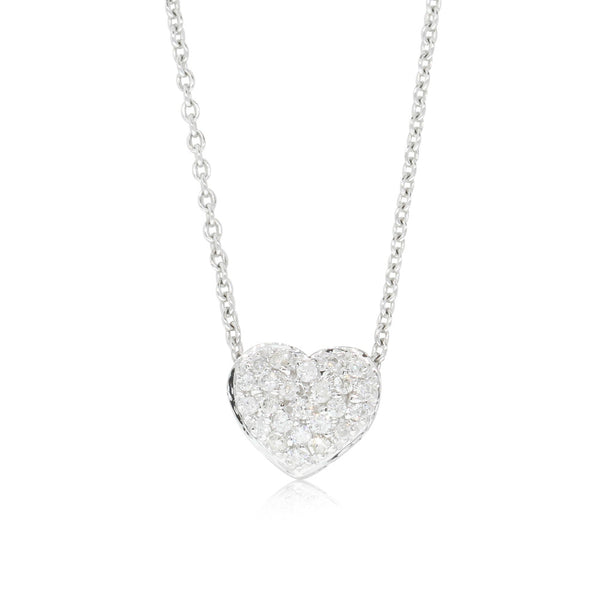 9ct White Gold Diamond Sweetheart Pendant