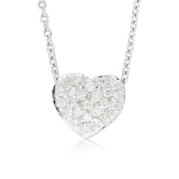 9ct White Gold Diamond Sweetheart Pendant - Walker & Hall