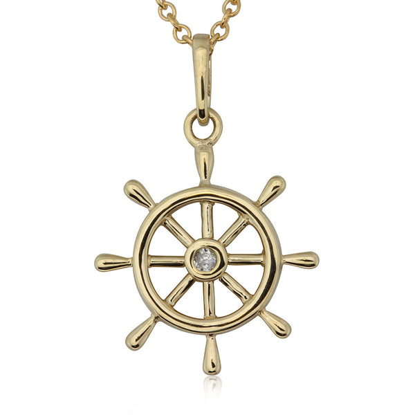 9ct Yellow Gold Diamond Ship Wheel Pendant - Walker & Hall