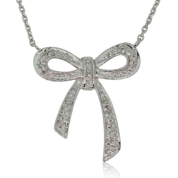 9ct White Gold Diamond Bow Necklace - Walker & Hall