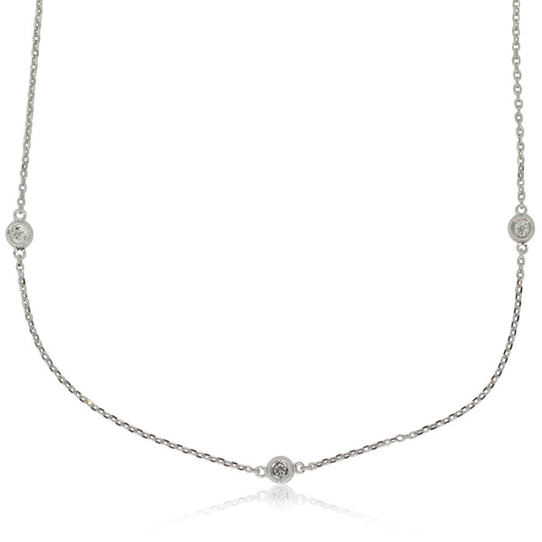 9ct White Gold Diamond Set Necklace