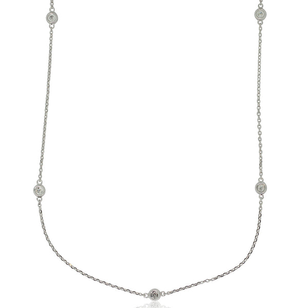 9ct White Gold Diamond Set Necklace - Walker & Hall