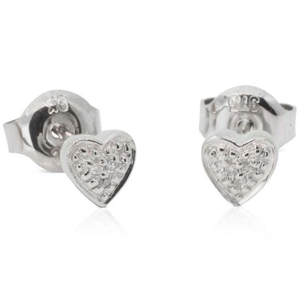 9ct White Gold Diamond Heart Studs - Walker & Hall