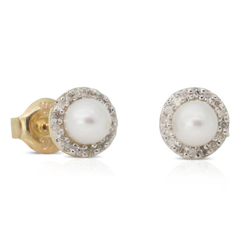 9ct Yellow Gold Diamond And Pearl Studs - Walker & Hall
