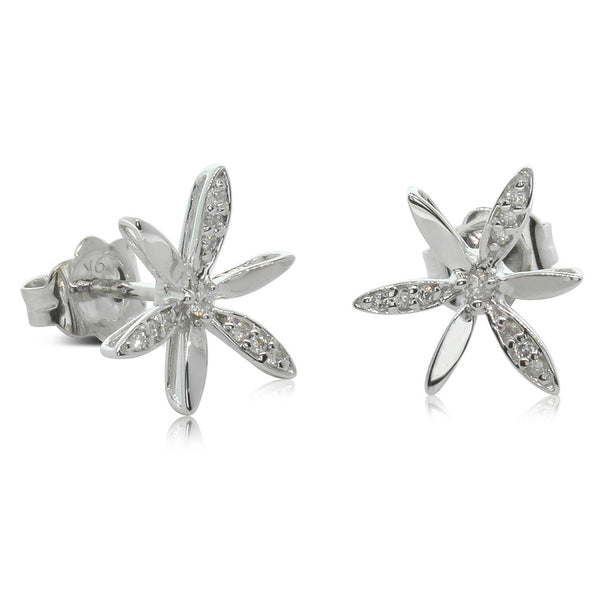 9ct White Gold Diamond Flower Studs - Walker & Hall