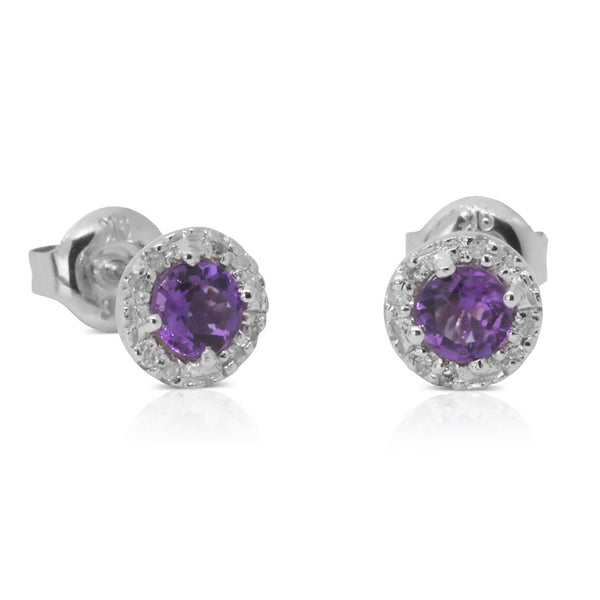 9ct White Gold .05ct Diamond And Amethyst Studs - Walker & Hall