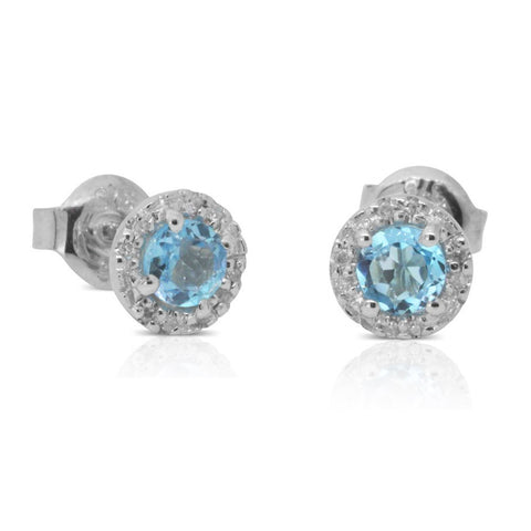 9ct White Gold Diamond And Blue Topaz Studs - Walker & Hall