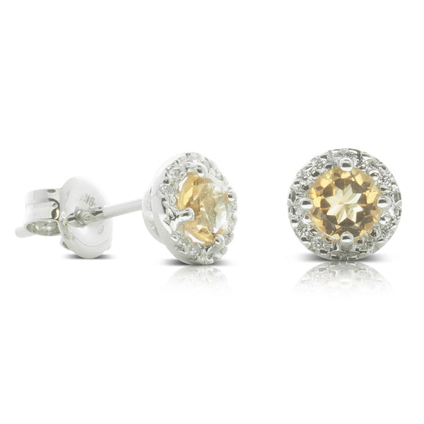9ct White Gold .05ct Diamond & Citrine Studs