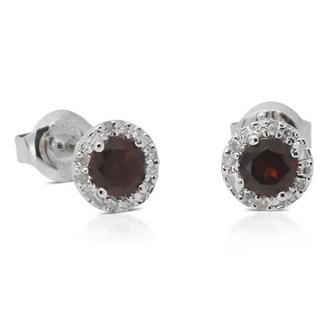 9ct White Gold .05ct Diamond And Garnet Studs - Walker & Hall