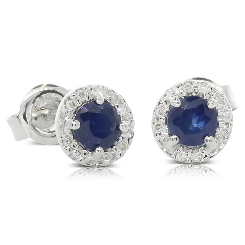 9ct White Gold .05ct Diamond And Sapphire Studs - Walker & Hall