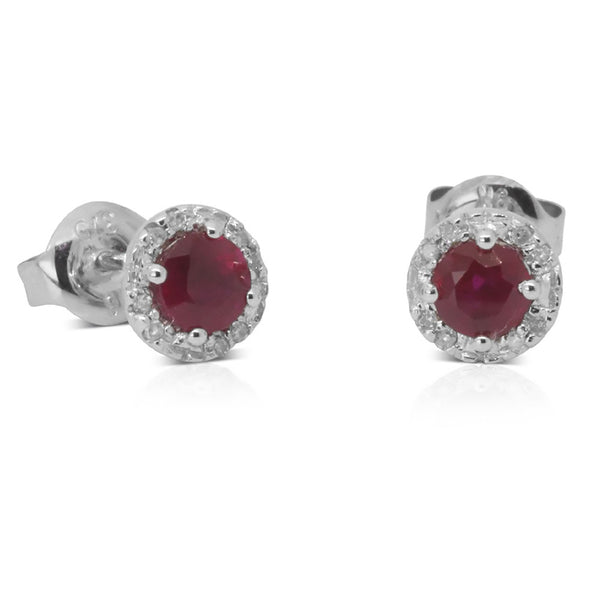 9ct White Gold .05ct Diamond And Ruby Studs - Walker & Hall