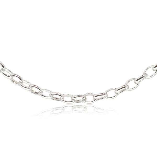 9ct White Gold Oval Belcher Chain - Walker & Hall