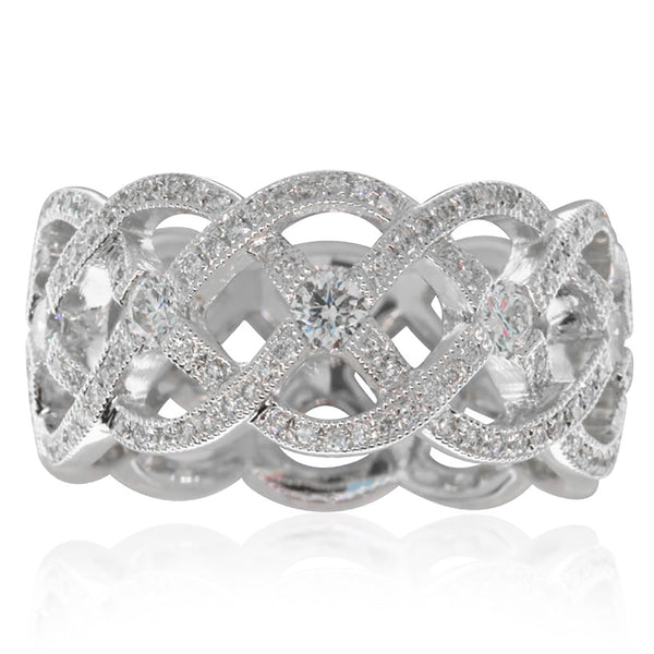 18ct White Gold Woven Diamond Band - Walker & Hall