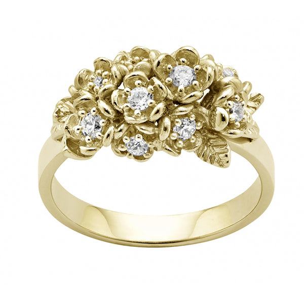 Karen Walker 18ct Yellow Gold .42ct Diamond Wildflower Ring - Walker & Hall