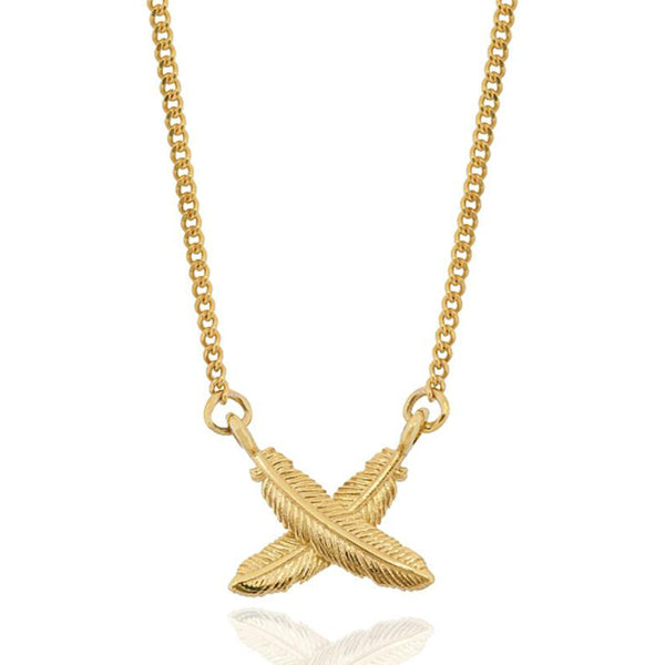 Boh Runga 9ct Yellow Gold Feather Kisses Petite Pendant - Walker & Hall