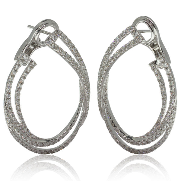18ct White Gold Diamond Drop Earrings - Walker & Hall
