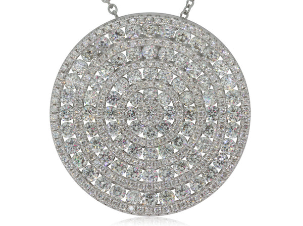 18ct White Gold 3.84ct Diamond Disc Pendant - Walker & Hall