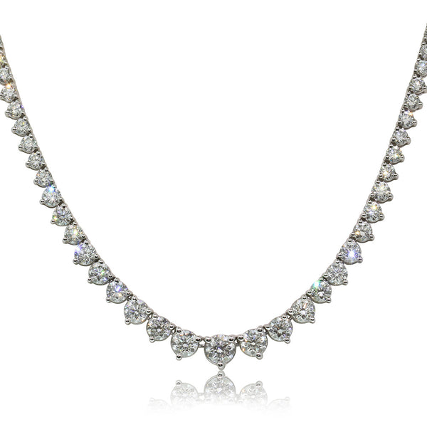 18ct White Gold 11.91ct Diamond Necklace - Walker & Hall