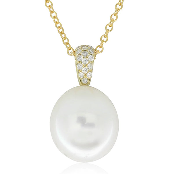 9ct Yellow Gold South Sea Pearl And Diamond Pendant