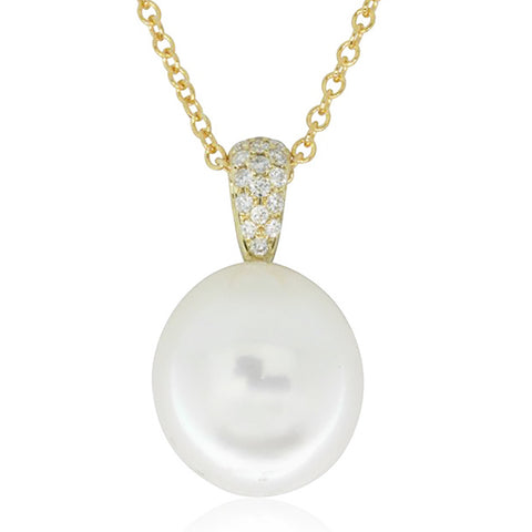 9ct Yellow Gold South Sea Pearl And Diamond Pendant - Walker & Hall