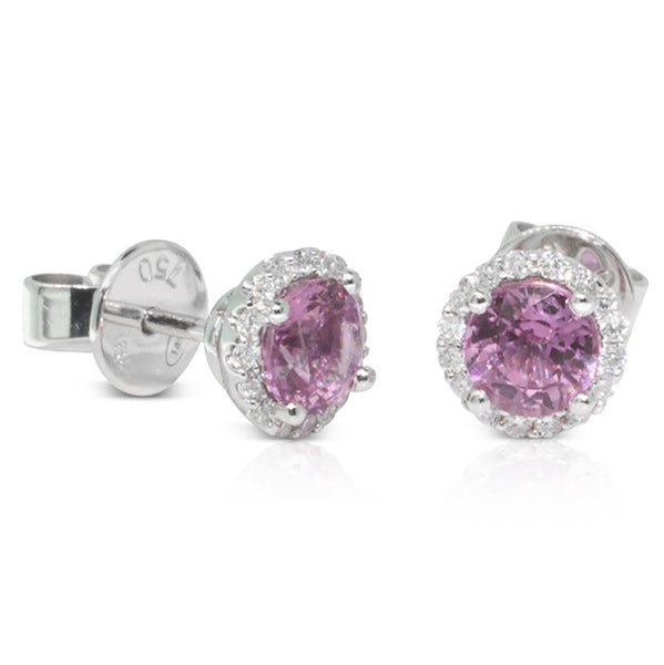 18ct White Gold Pink Sapphire And Diamond Earrings - Walker & Hall