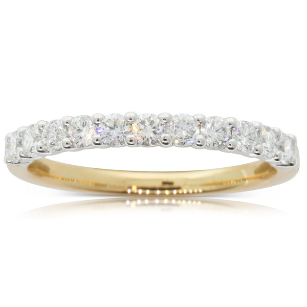 18ct Yellow & White Gold Claw Set Diamond Ring - Walker & Hall