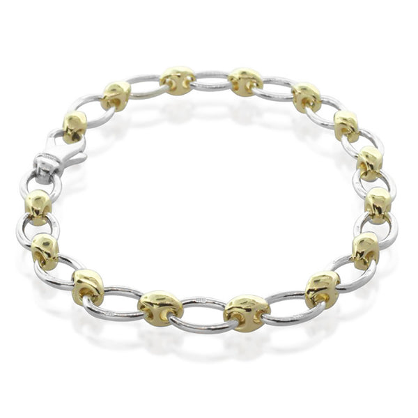 9ct Yellow Gold And Sterling Silver Oval Link Bracelet - Walker & Hall