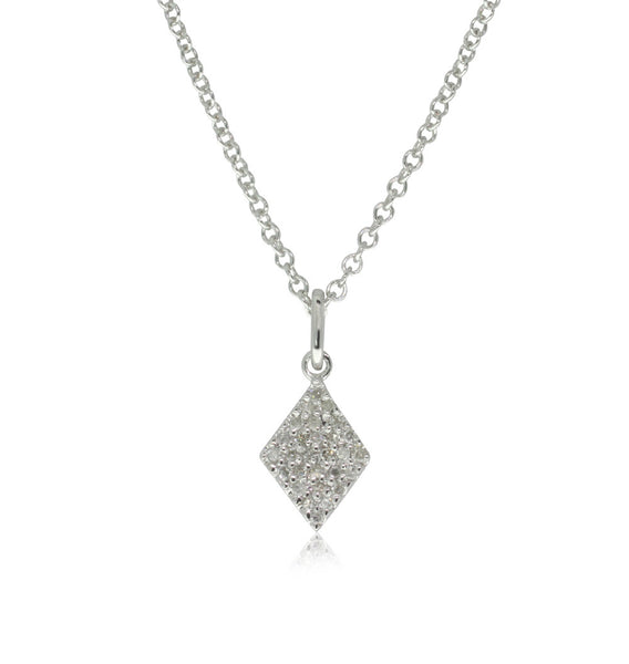 9ct White Gold Diamond Cluster Pendant - Walker & Hall