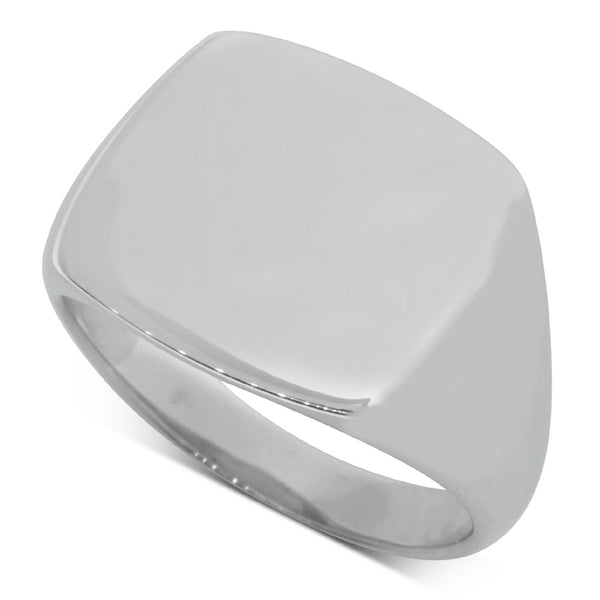 Sterling Silver Square Signet Ring - Walker & Hall