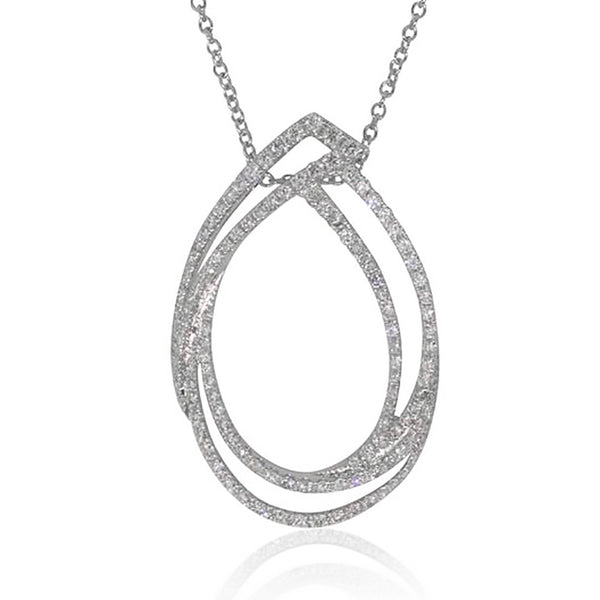 18ct White Gold 1.09ct Diamond Pendant - Walker & Hall