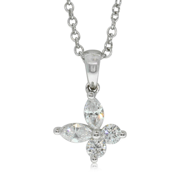 18ct White Gold .40ct Diamond Butterfly Pendant - Walker & Hall