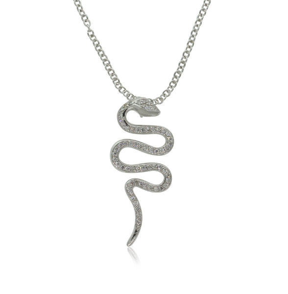 18ct White Gold Diamond Snake Pendant - Walker & Hall