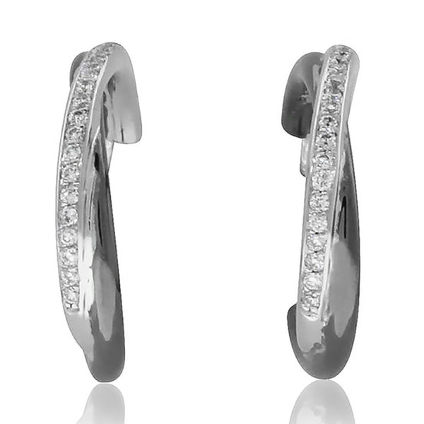 18ct White Gold .15ct Diamond Hoop Earrings - Walker & Hall