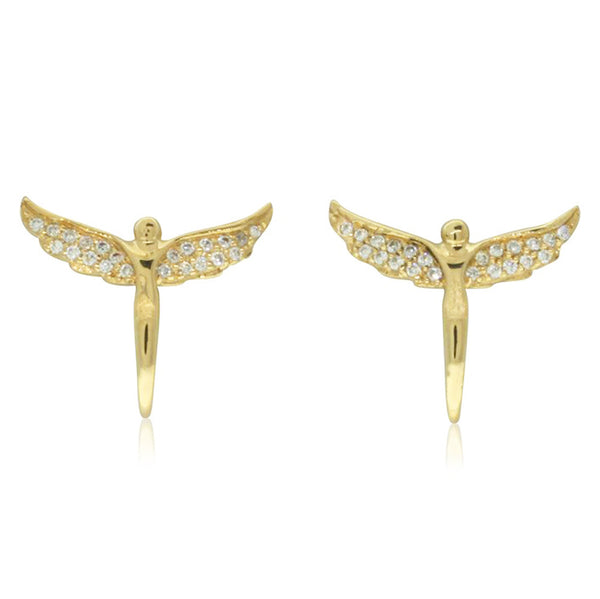 18ct Yellow Gold .14ct Angel Stud Earrings - Walker & Hall
