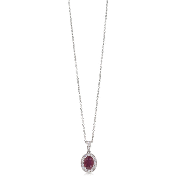 18ct White Gold .99ct Ruby & Diamond Halo Pendant - Walker & Hall