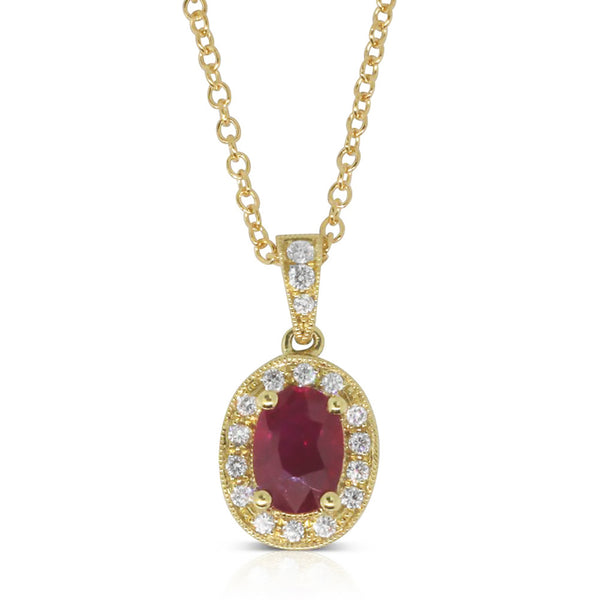 18ct Yellow Gold Ruby And Diamond Pendant - Walker & Hall