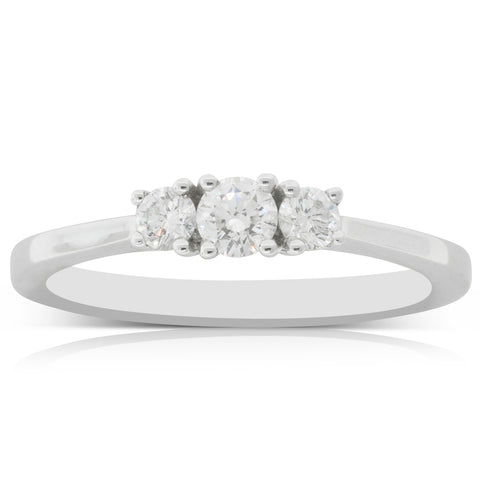 18ct White Gold .36ct Diamond Trinity Ring - Walker & Hall