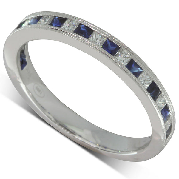 18ct White Gold Sapphire And Diamond Band - Walker & Hall