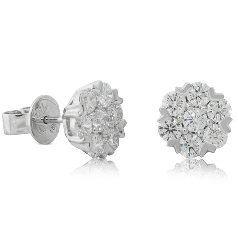 18ct White Gold 1.40ct Diamond Lotus Earrings - Walker & Hall