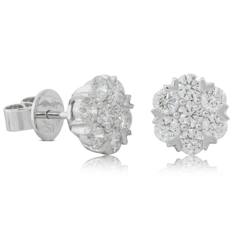 18ct White Gold 1.54ct Diamond Lotus Earrings - Walker & Hall