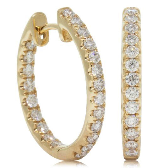 18ct Yellow Gold .96ct Diamond Earrings - Walker & Hall